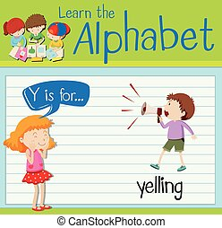 Flashcard letter Y is for yelling illustration