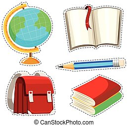 Sticker set with different stationaries