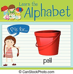 Flashcard letter P is for pail illustration