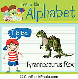 Flashcard letter T is for tyrannosaurus Rex illustration