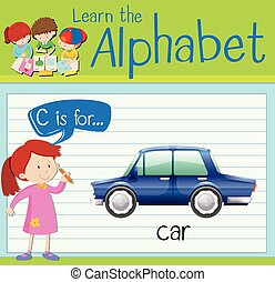 Flashcard letter C is for car illustration