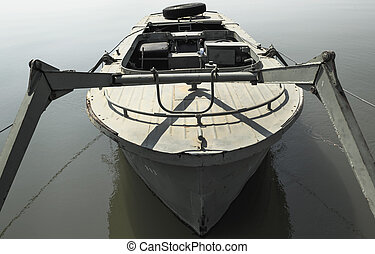 Military boat anchored