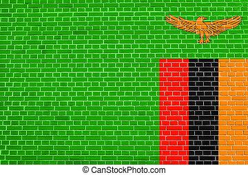 Flag of Zambia on brick wall texture background - Zambian...