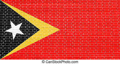 Flag of East Timor, brick wall texture background - East...