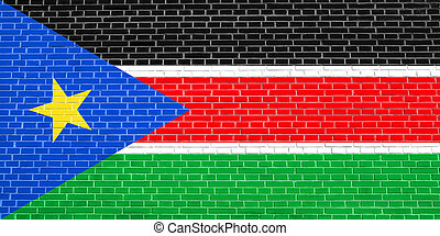 Flag of South Sudan, brick wall texture background - South...
