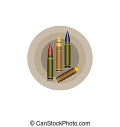 Various sizes and caliber bullets icon - Military Gun...