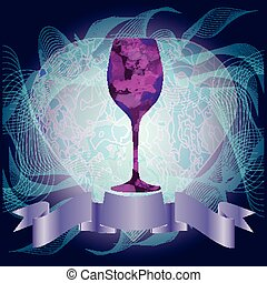 Red Wine Purple Glass Illustration - Glass of Red Wine on...