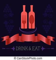 Two Glass Bottles of Red Wine - Drink Eat Illustration Red...