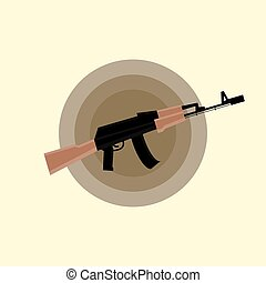 Kalashnikov AK-47 Assault Rifle Flat Icon - Military Gun...