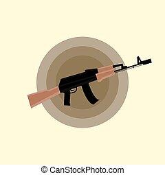 Kalashnikov AK-47 Assault Rifle Flat Icon - Military Gun...