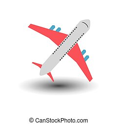 Colorful Airplane on White Backdrop Icon