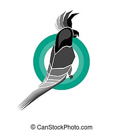 Black and White Parrot Icon Design - Cockatoo Black and...