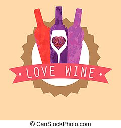 Three Colorful Bottles of Wine, Red, Rose and Purple behind...