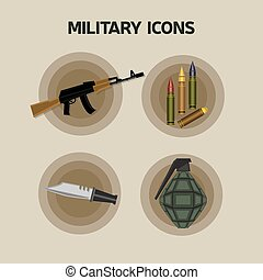 Military Flat Style Icons - Military Weapons Flat Style...