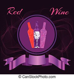 Red Wine Bottles and a Glass of Wine - Three wine bottles...