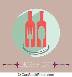 Two Glass Bottles of Red Wine - Drink Eat Template...