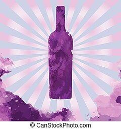 Glass Bottle of Red Wine Flyer Illustration - Glass Bottle...