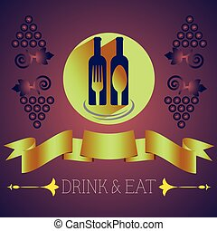 Wine with Spoon and Fork on Dark Backdrop - Drink Eat...