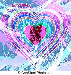 Rainbow hearts on abstract background - Multiple rainbow...