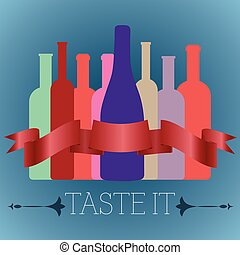 Bottles of Wine of Different Shapes - Colorful Bottles of...
