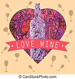 Love Wine Text on a Red Ribbon Vintage Heart Textured...