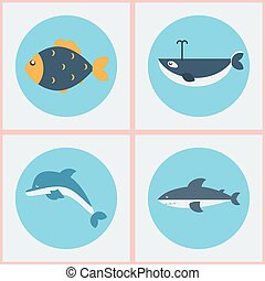 Marine Fishes Four Icons