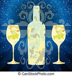 Glass Bottle of White Wine - White Wine Glass Bottle of...