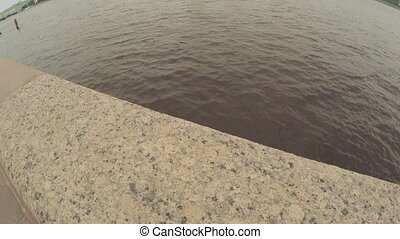 Railing on bank of Neva - Granite balustrade on the banks of...