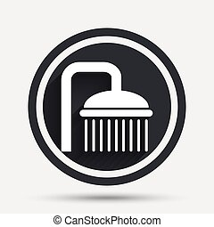 Shower sign icon. Douche with water drops symbol. Circle...