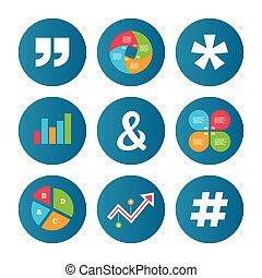 Quote, asterisk footnote icons Hashtag symbol - Business pie...