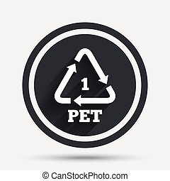 PET 1 icon. Polyethylene terephthalate.