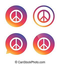 Peace sign icon Hope symbol Antiwar sign Gradient buttons...