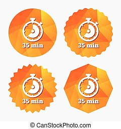 Timer sign icon. 35 minutes stopwatch symbol. Triangular low...
