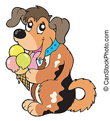 Cartoon dog eating ice cream - vector illustration.