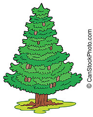 Cartoon coniferous tree - vector illustration.
