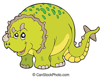 Cartoon triceratops on white background - vector...
