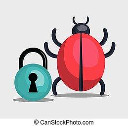 informatic virus design - informatic virus and padlock....