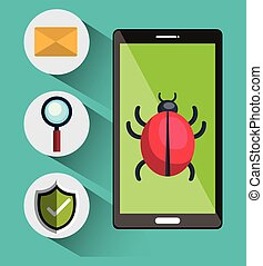internet security design - smartphone and virus alert...