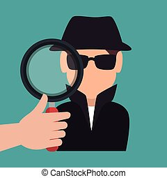 avatar criminal hacker - hand holding magnifying glass and...