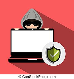 avatar criminal hacker - laptop and avatar man hacker and...