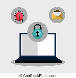 informatic security system design - laptop computer and...