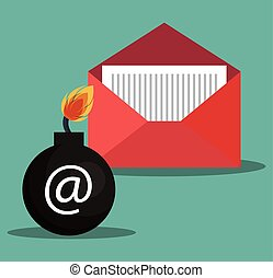 internet security design - opened red envelope and bomb...
