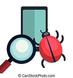 internet security design - smartphone and magnifying glass...