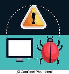 internet security design - monitor computer and virus alert...