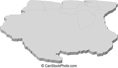 Map - Suriname - 3D-Illustration - Map of Suriname as a gray...