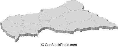 Map - Central African Republic - 3D-Illustration - Map of...