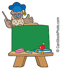 School chalkboard with owl teacher