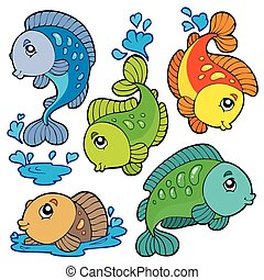 Freshwater fishes collection - vector illustration.