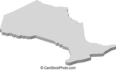Map - Ontario Canada - 3D-Illustration - Map of Ontario, a...