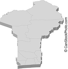 Map - Benin - 3D-Illustration - Map of Benin as a gray...